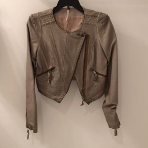Free People Cropped Leather Jacket